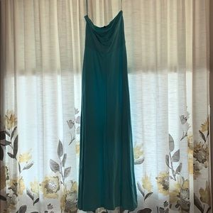 Turquoise/teal strapless maxi dress